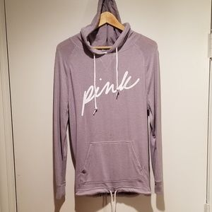 Pink  Hoodie with bottom drawstring